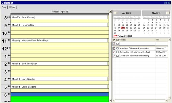 MicroFit Manager - Calendar